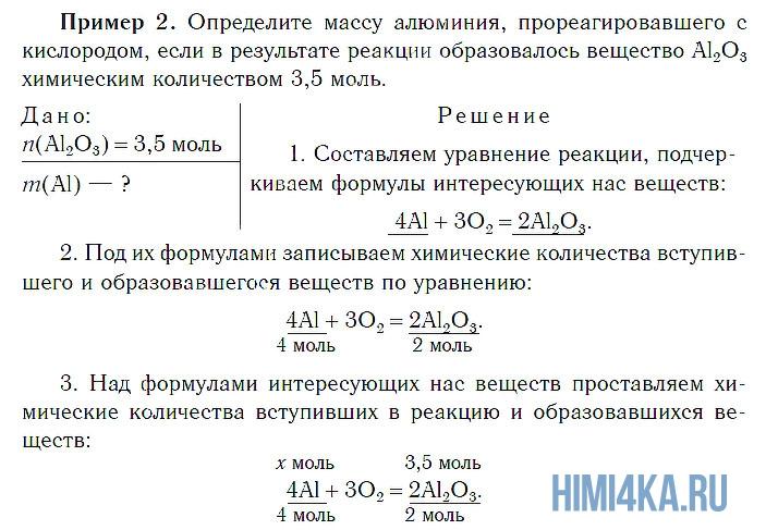 Расчеты по уравнениям химических реакций